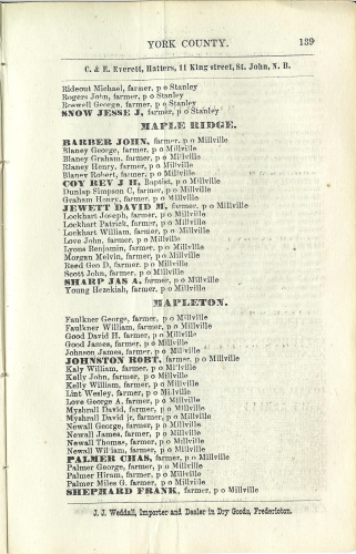 Page 139 of the McAlpine's York and Carleton Counties Directory for 1884-85